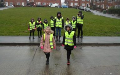 Pedestrian crossing with year 3